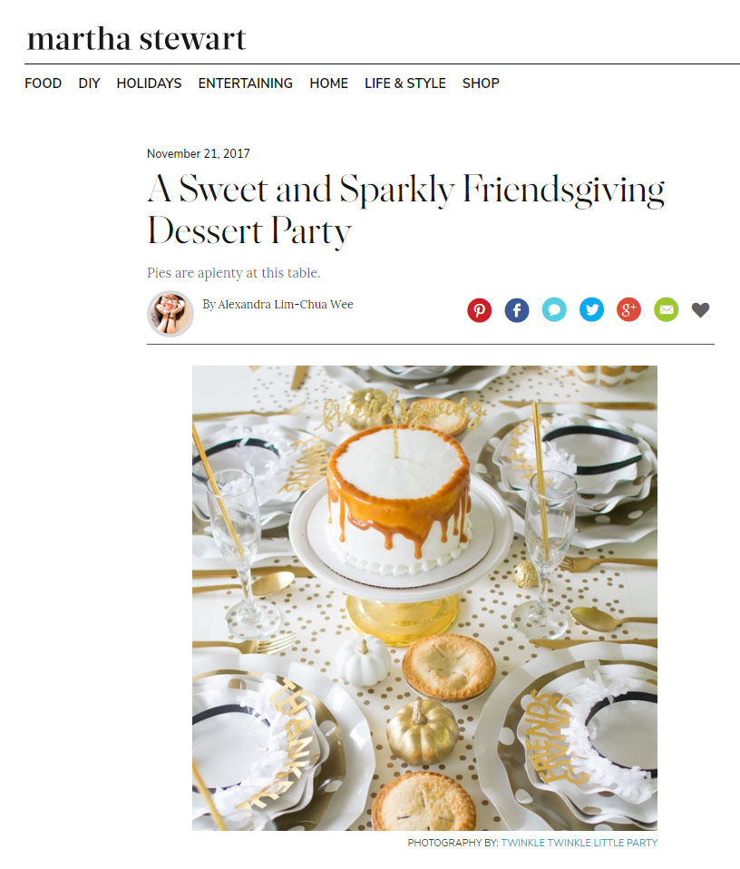 Twinkle Twinkle Little Party Featured on Martha Stewart - Friendsgiving Tablescape