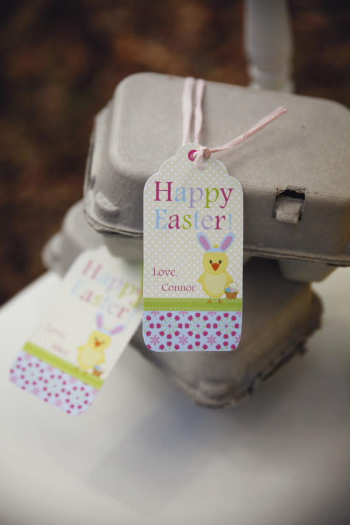 Mini carton eggs were filled with chocolate Easter eggs complete with our printable tags!