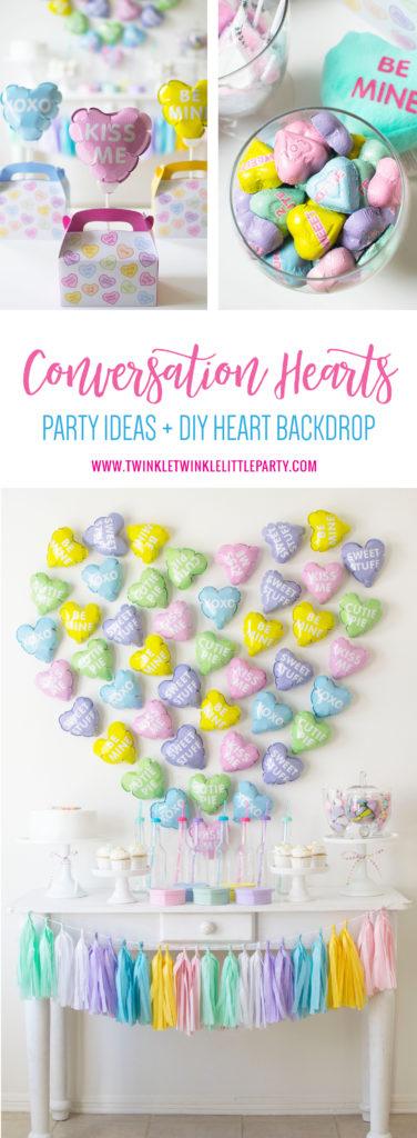 Conversation Hearts Themed Party - DIY Balloon Heart Backdrop