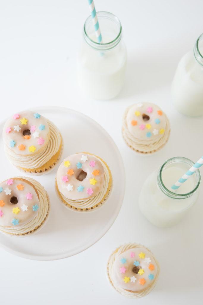 Baked Vanilla Donut Cupcakes