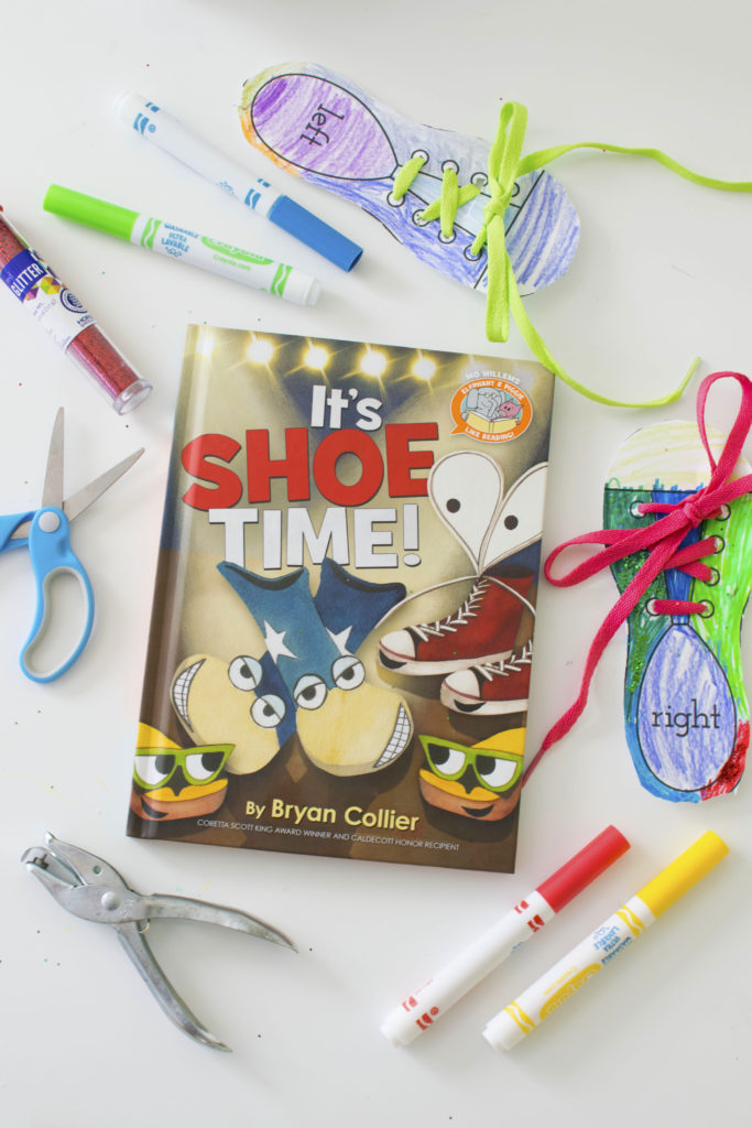 It's Shoe Time! by Bryan Collier. This is the newest book in Mo Willems' Elephant & Piggie Like Reading! series