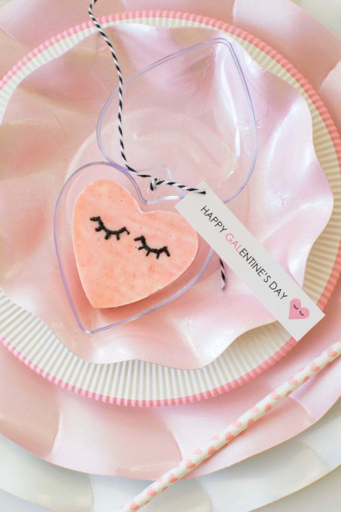 Easy Galentine's Day Tablescape + Pink Heart Fudge Recipe & Free Galentine's Day Party Printables