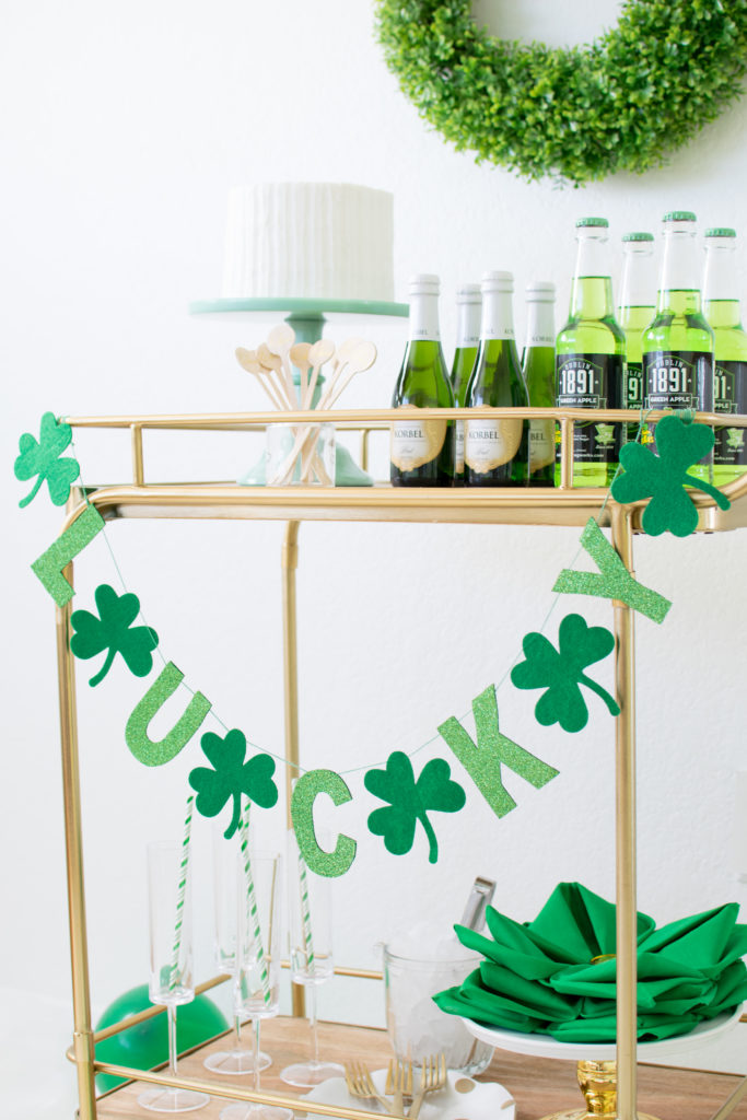 Set up a quick and easy bar cart for Saint Patrick's Day