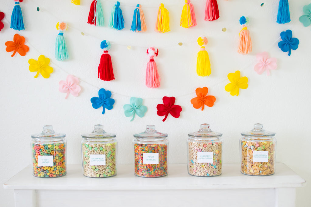 Surprise the kids with a Rainbow Inspired Saint's Patrick's Day Cereal Station