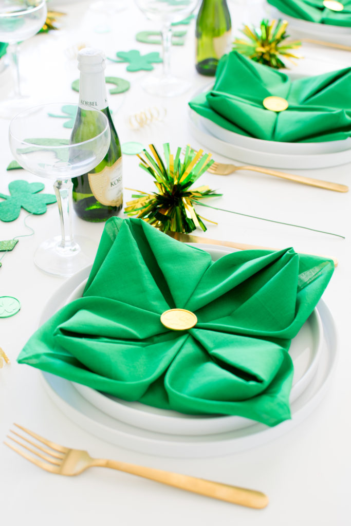 Set up an easy modern tablescape for Saint Patrick's Day