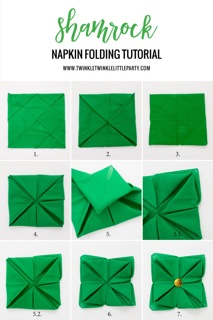 Step by Step Shamrock Napkin Folding Tutorial