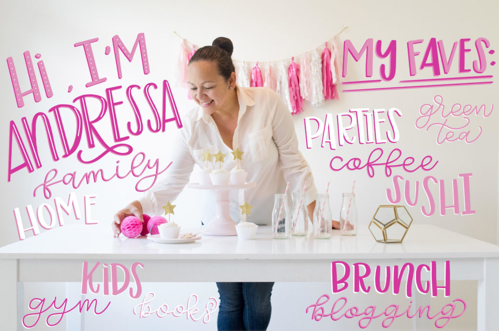 "My lovely hand lettered ""All About Me"" blogger/influence photo - Andressa Hara, creative Director, Blogger, Stylist, Content Creator at Twinkle Twinkle Little Party"