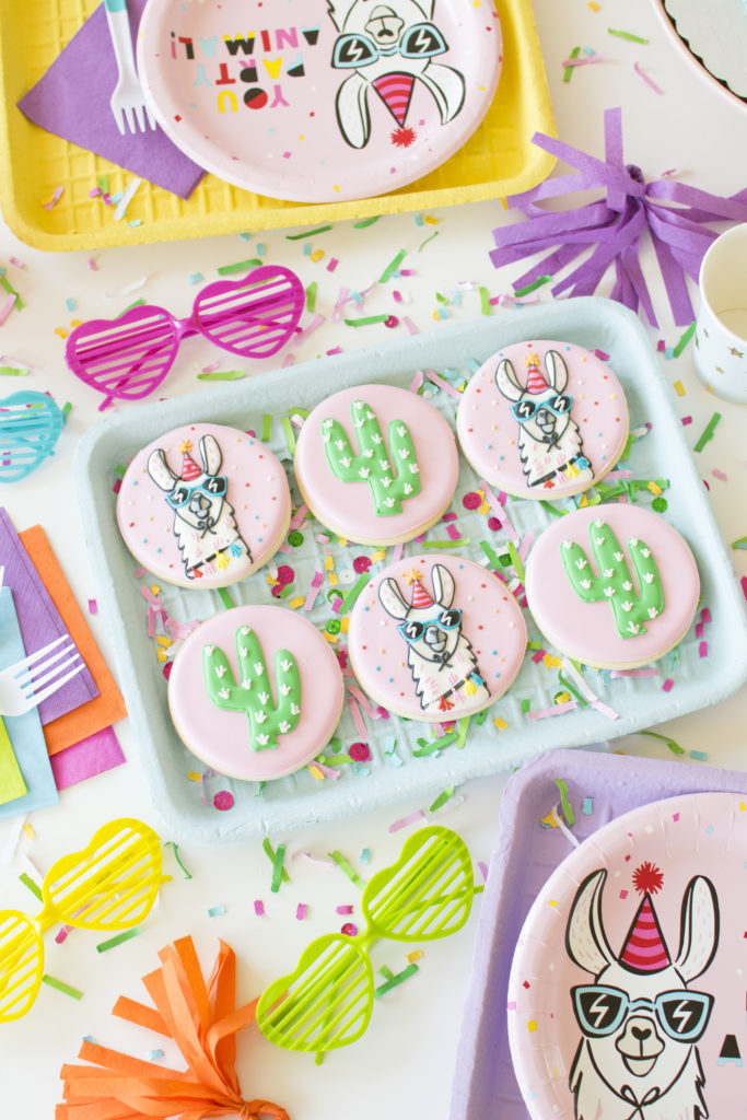 How To Throw a Colorful Llama Party -Decorated Llama Cookies inspired by Target Llama Party Collection