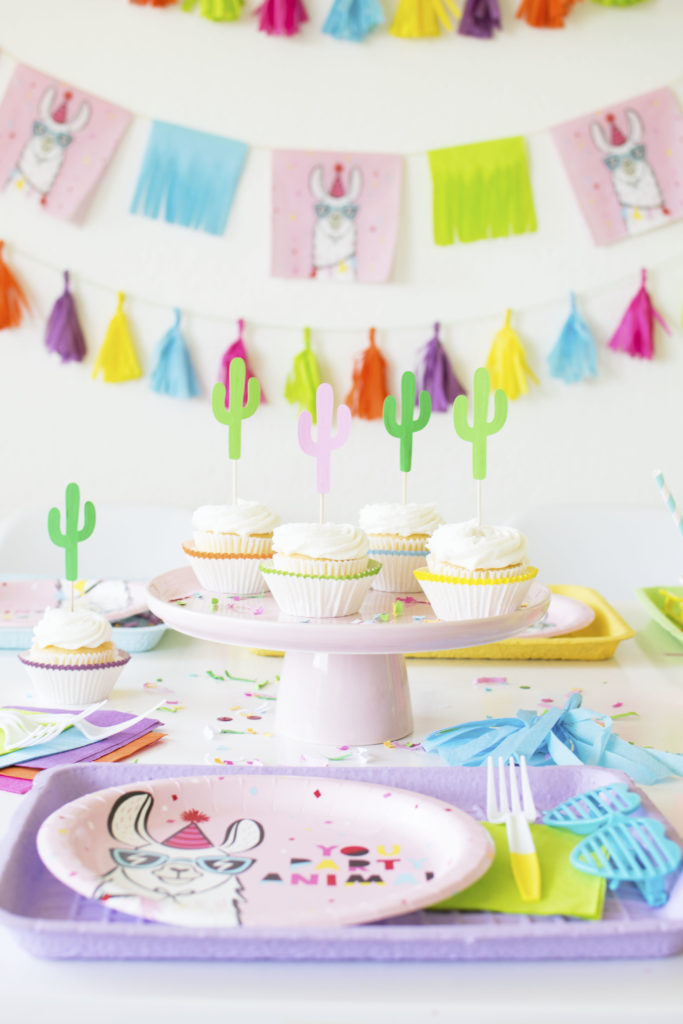 How To Throw a Colorful Llama Party - Cactus Cupcake Toppers