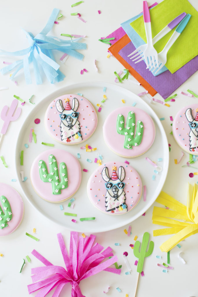 How To Throw a Colorful Llama Party - Decorated Llama Cookies