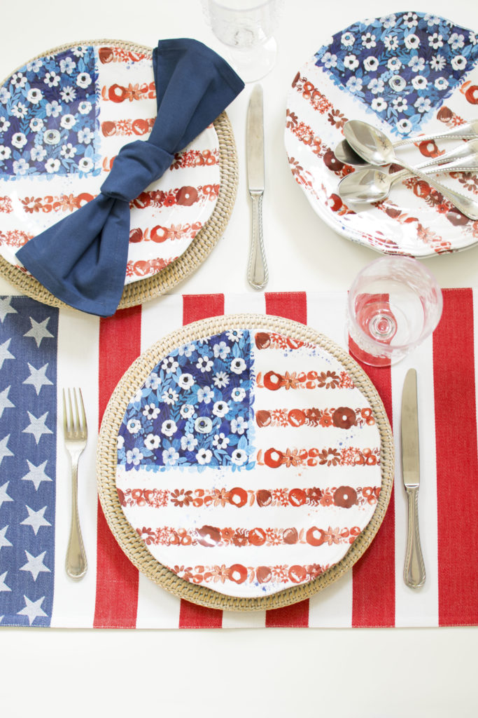 Patriotic Flower Flag 4th of July Tablescape featuring Melamine plates by Pier 1