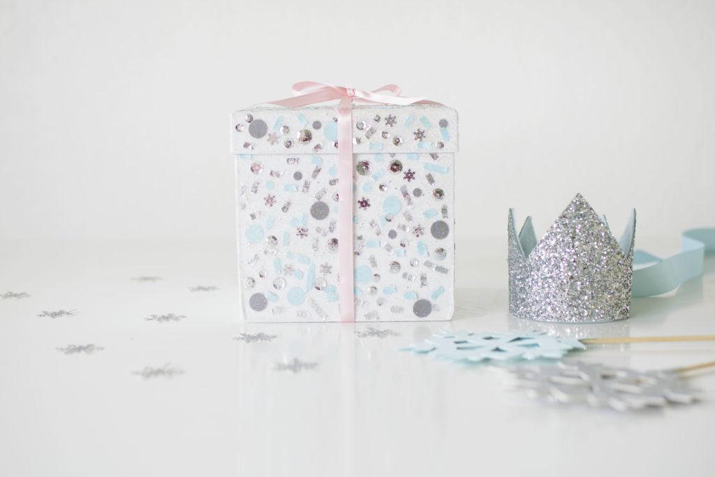 DIY Frozen Confetti Gift Box using Sparkle Modge Podge