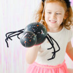 DIY Paint Splattered Spider Balloons