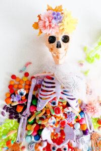 A DIY Ombre Skeleton Table Centerpiece
