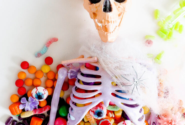A DIY Ombre Skeleton Table Centerpiece
