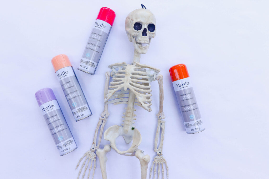 Halloween Candy Display: A DIY Ombre Skeleton Table Centerpiece