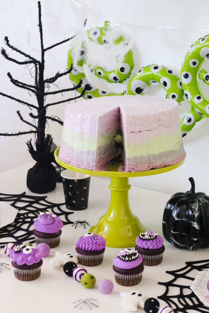 Kids Halloween Party Ideas: Purple People Eater Cupcakes and Spider Craft